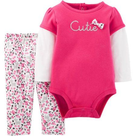 2fcaacccb Child of Mine by Carter's Newborn Baby Girl Bodysuit and Pant Set 2 Pieces,  Size: 12 Months, Pink