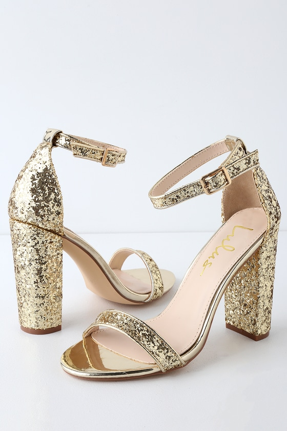 f85dd44e2f1 The Lulus Taylor Glitter Gold Ankle Strap Heels feature a slender toe  strap