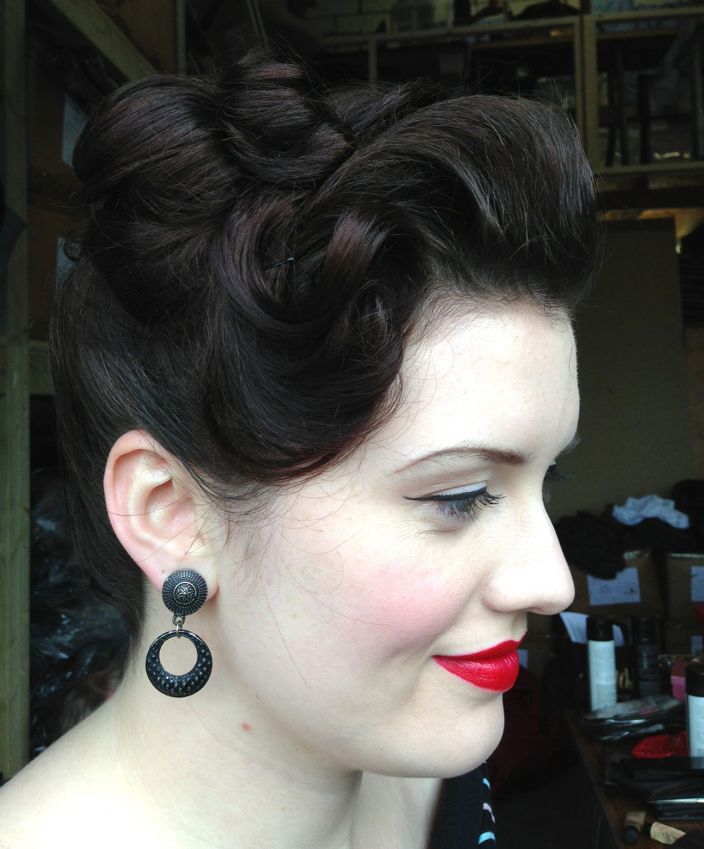 Another behind the scenes shot for Freddies of Pinewood hair & makeup Lipstick and Curls www.lipstickandcurls.net www.freddiesofpinewood.co.uk Model: Laura Lockyer