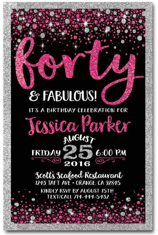 Pink Black Forty and Fabulous 40th Birthday Invitations DI445