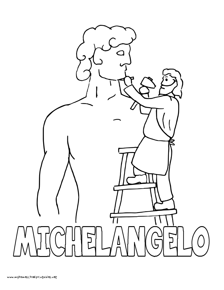 World History Coloring Pages Printables Michelangelo David Statue