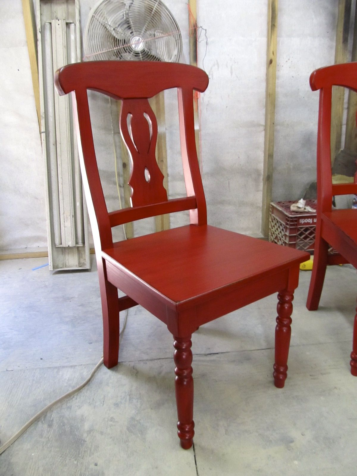Handcrafted chairs in bright red color distressed finish contact us directly for custom orders 713 880 2105 barrio antiguo