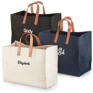 Need great bridesmaids' gifts? How about a Mother's Day gift for the mom who has everything? We highly recommend our Canvas totes, personalized of course. It's ideal for their carrying needs, not to mention exceedingly stylish too. It features leather handles and a hard flat bottom. <br><br>-Also makes a great just because gift