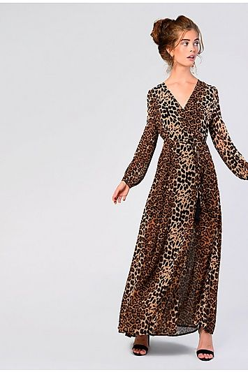 2c6f9e4ecc Womens   Leopard Print Maxi Dress By Glamorous - Brown in 2019 ...