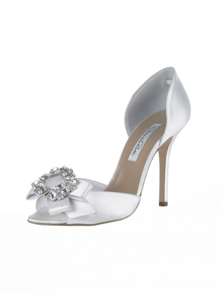 bridal shoes Oscar de la Renta wedding heels white satin dorsay tulle poof 7ac25dc09b94