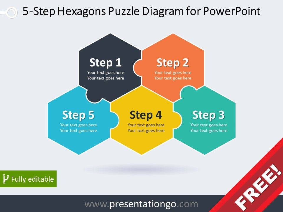 5 Step Hexagons Puzzle Diagram For Powerpoint