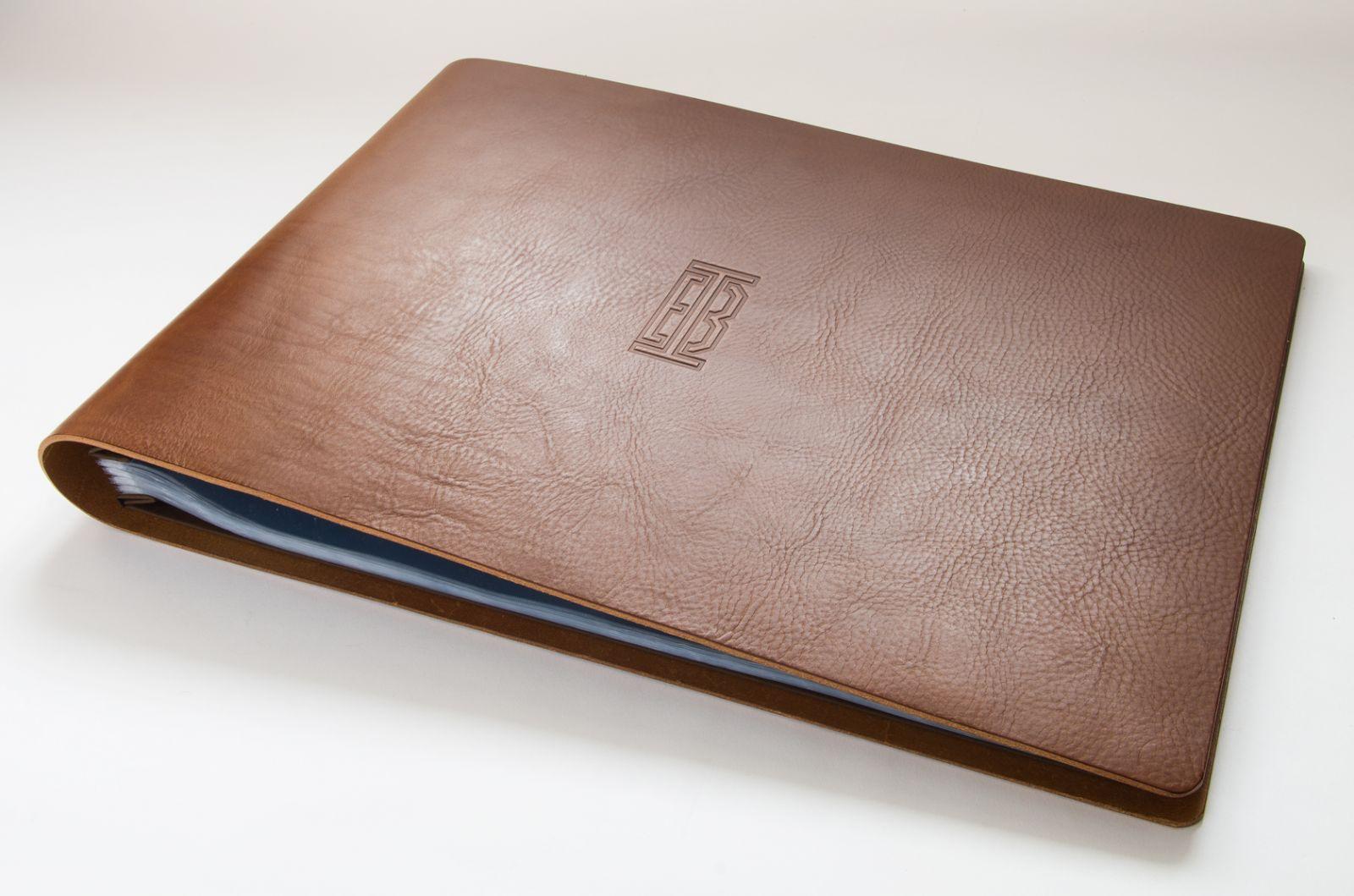 Leather portfolio cases business portfolios folders embossed with - Leather Presentation Portfolio Book For Sydney Designer Ian Borg