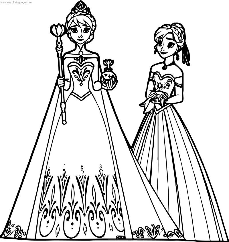 Elsa Anna Coronation Coloring Page Disney Princess Coloring Pages Princess Coloring Pages Disney Princess Colors