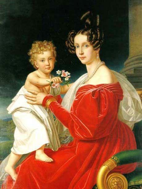 Princess Sophie of Bavaria With Her Son, Franz Joseph, later Emperor of Austria by Joseph Karl Stieler
