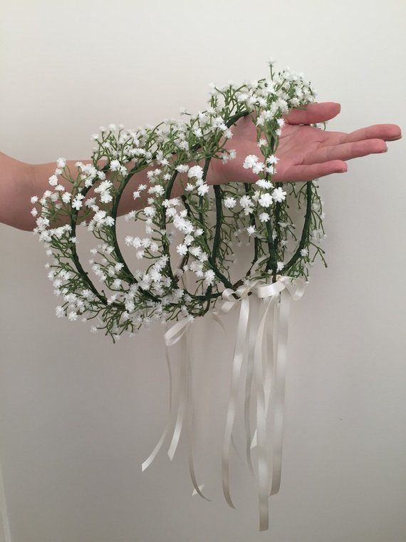 Photo of Items similar to gypsophila crown, gypsophila flower girl crown, flower crown, gypsophila, and spiral pendants, gypsophila crown on Etsy