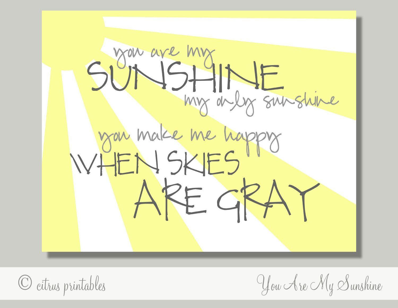 You Are My Sunshine - Printable Wall Art - PDF