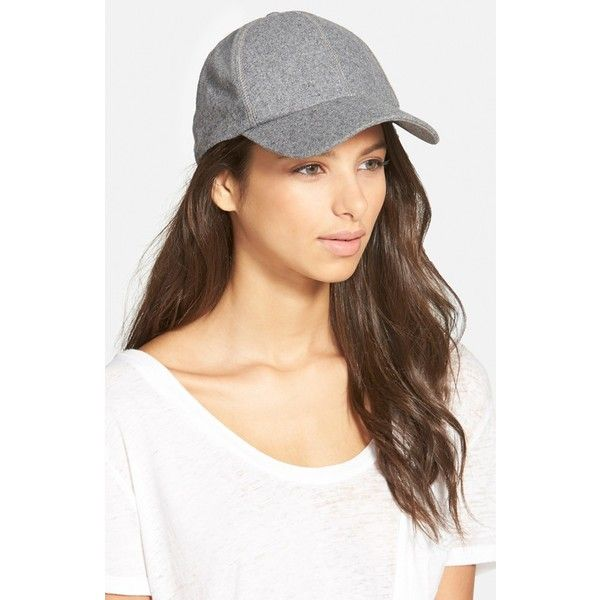 6fe4911affd Phase 3 Melton Wool Baseball Cap ($24) ❤ liked on Polyvore featuring  accessories, hats, light heather grey, adjustable hats, baseball hats, baseball  cap ...