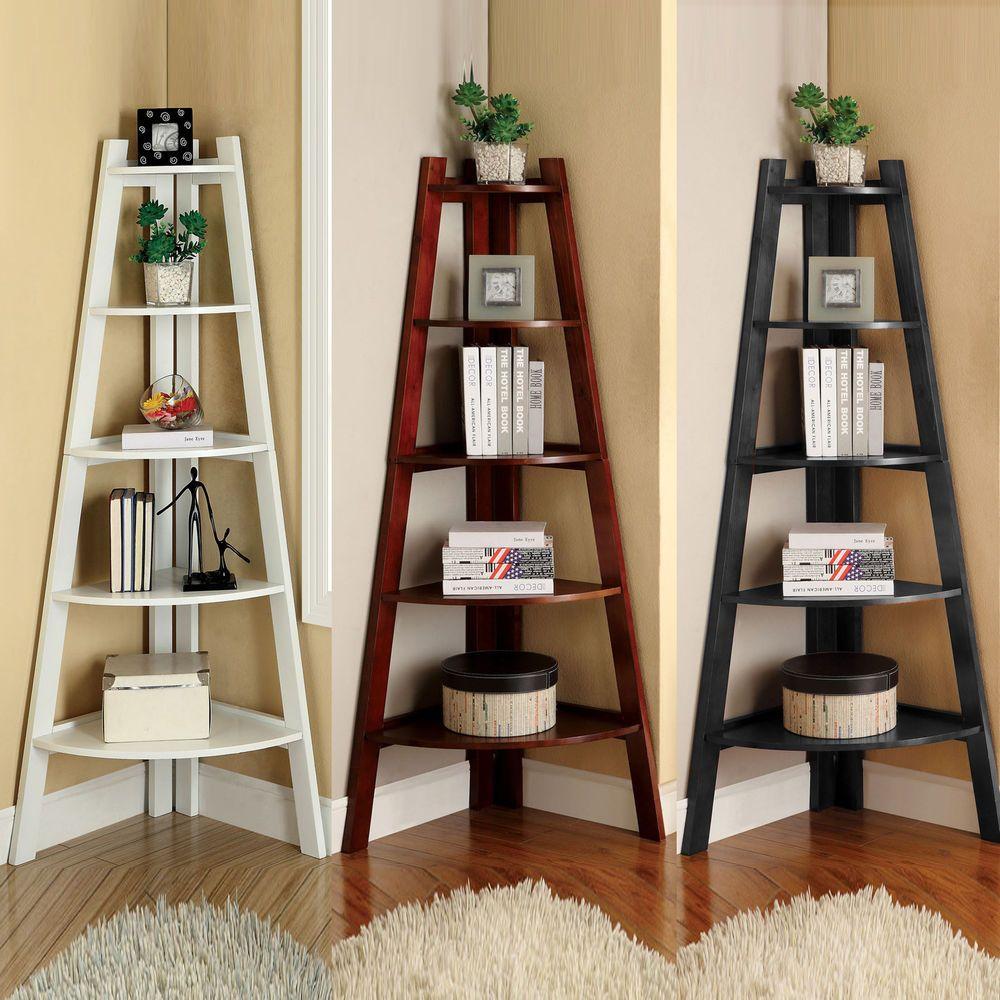White Cherry Black Storage Ladder Shape Bookcase Bookshelf Display Corner Shelf FurnitureofAmerica ModernContemporaryCasual