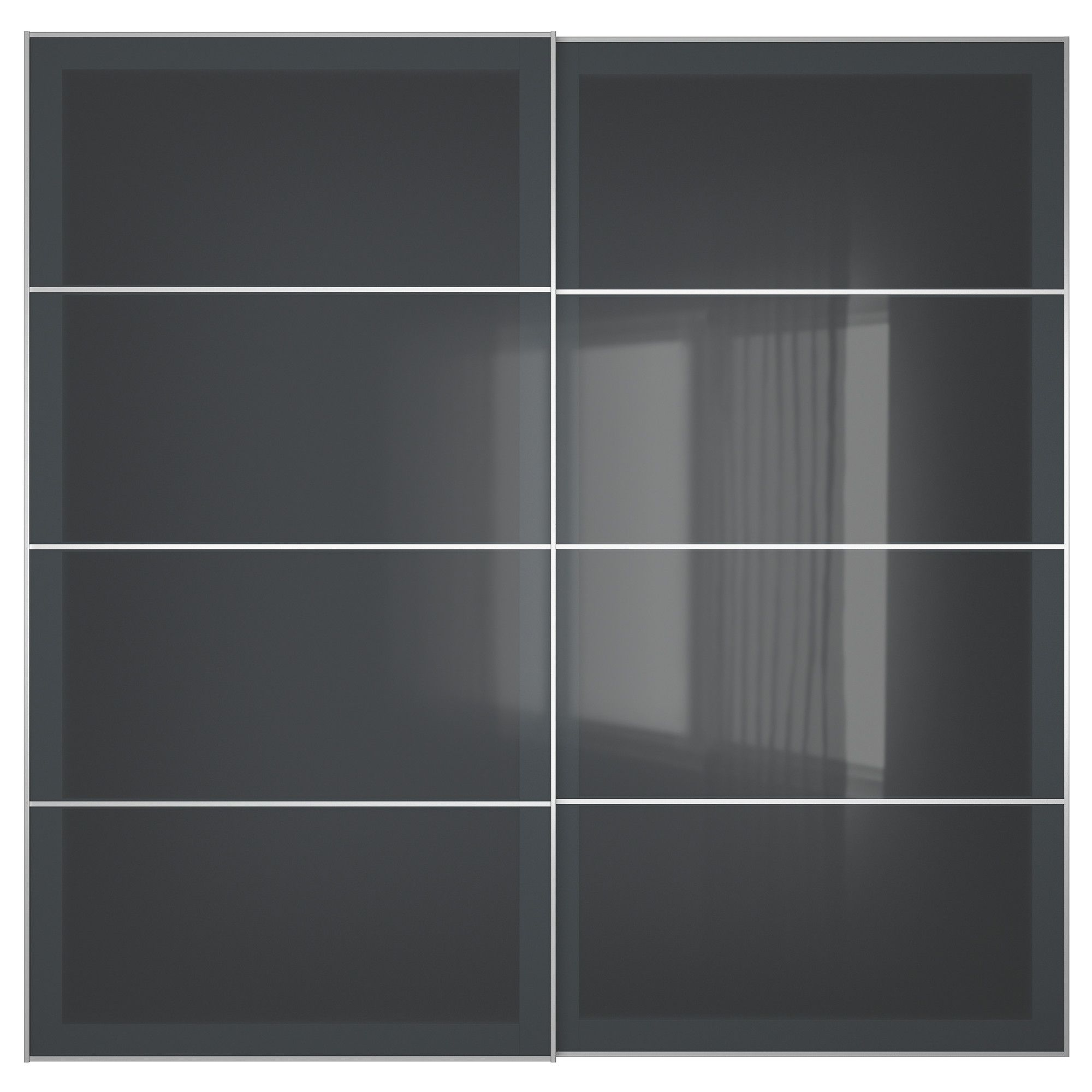 Pax Uggdal Ikea Uggdal Pair Of Sliding Doors Gray Glass Products Grey