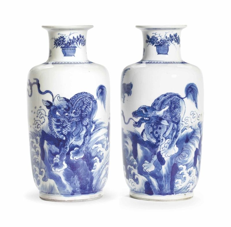 A Small Blue And White Rouleau Vase Kangxi Period 1662 1722