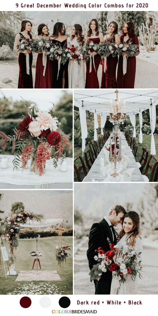 9 Great December Wedding Color Combos For 2020 In 2020 December Wedding Colors Dark Red Wedding Red And White Wedding Decorations