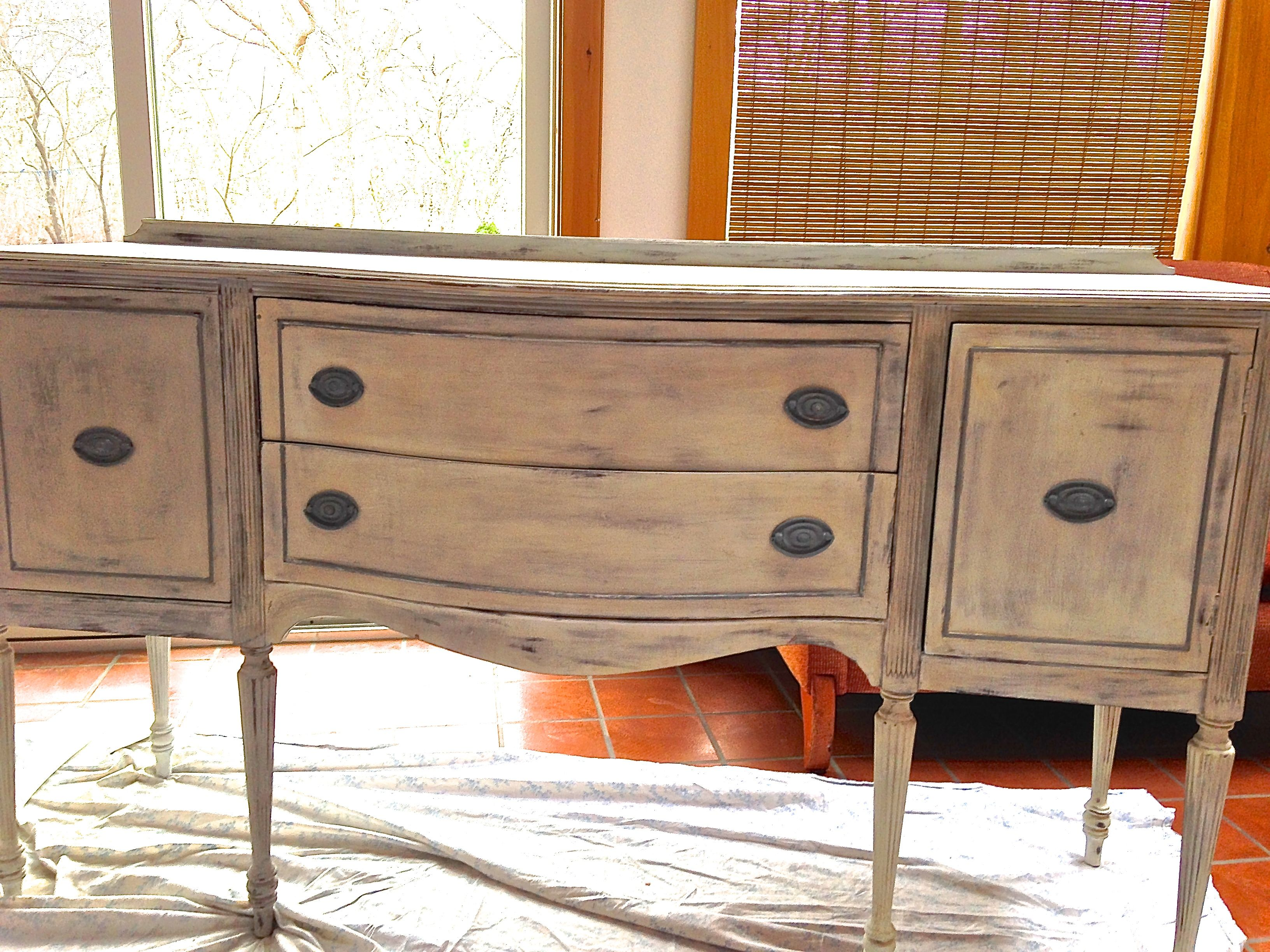 side board refinished in Paris Gray and Old White.  Dark & clear wax.