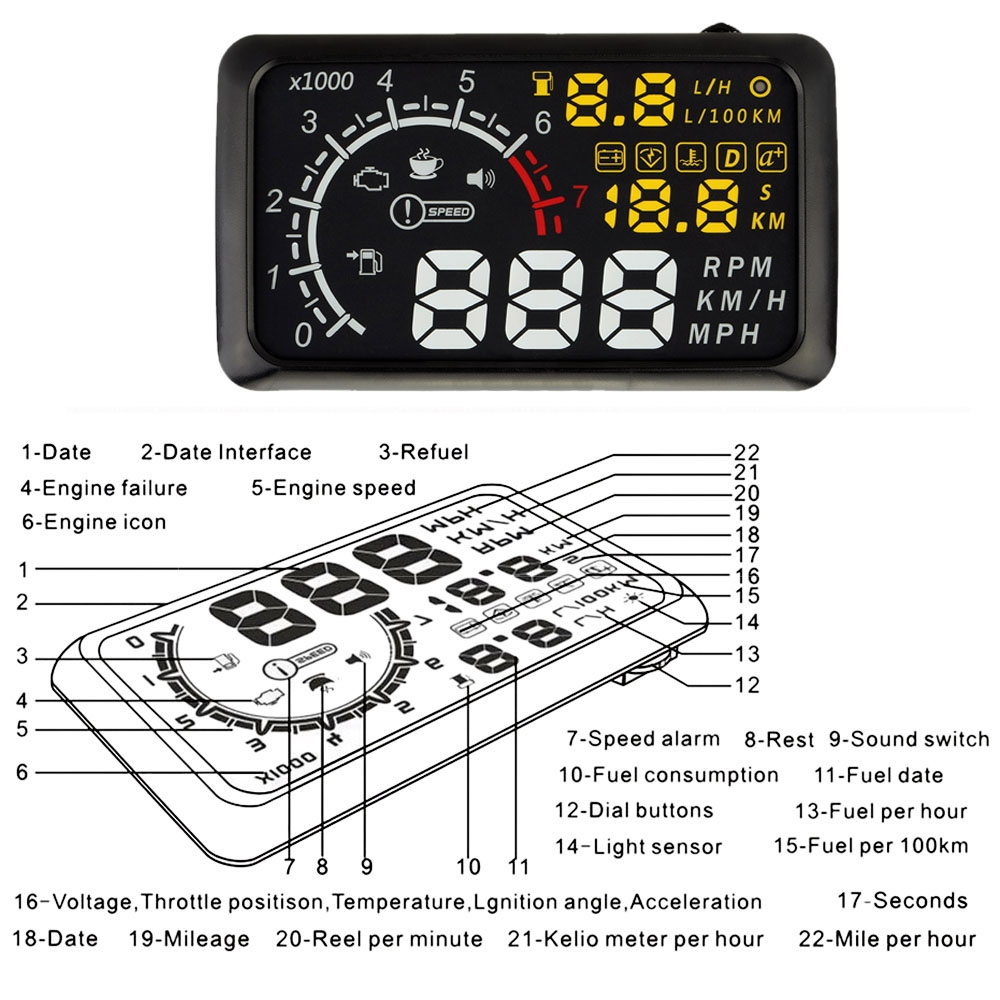 71.50$  Buy here - http://alicp9.worldwells.pw/go.php?t=32597005318 - Head Up Display Speeding Warning OBDII Interface Windshield Project System with Bluetooth Function to Connect Phone PC 71.50$
