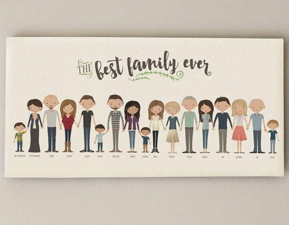 Familie Portrait • Großeltern benutzerdefinierte Familie Illustration • Oma Opa vorhanden • Leinwand Familienbild personalisierte Geschenk
