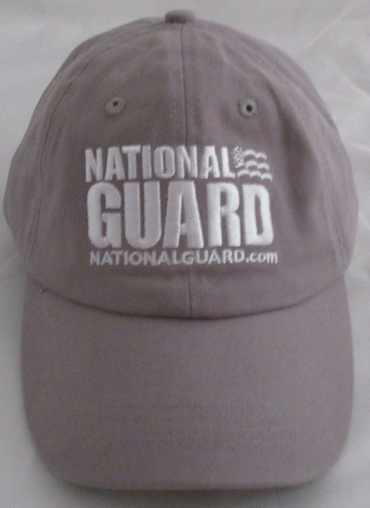 NEW Army National Guard Baseball hat Cap Gray White Lettering Adjustable Cotton