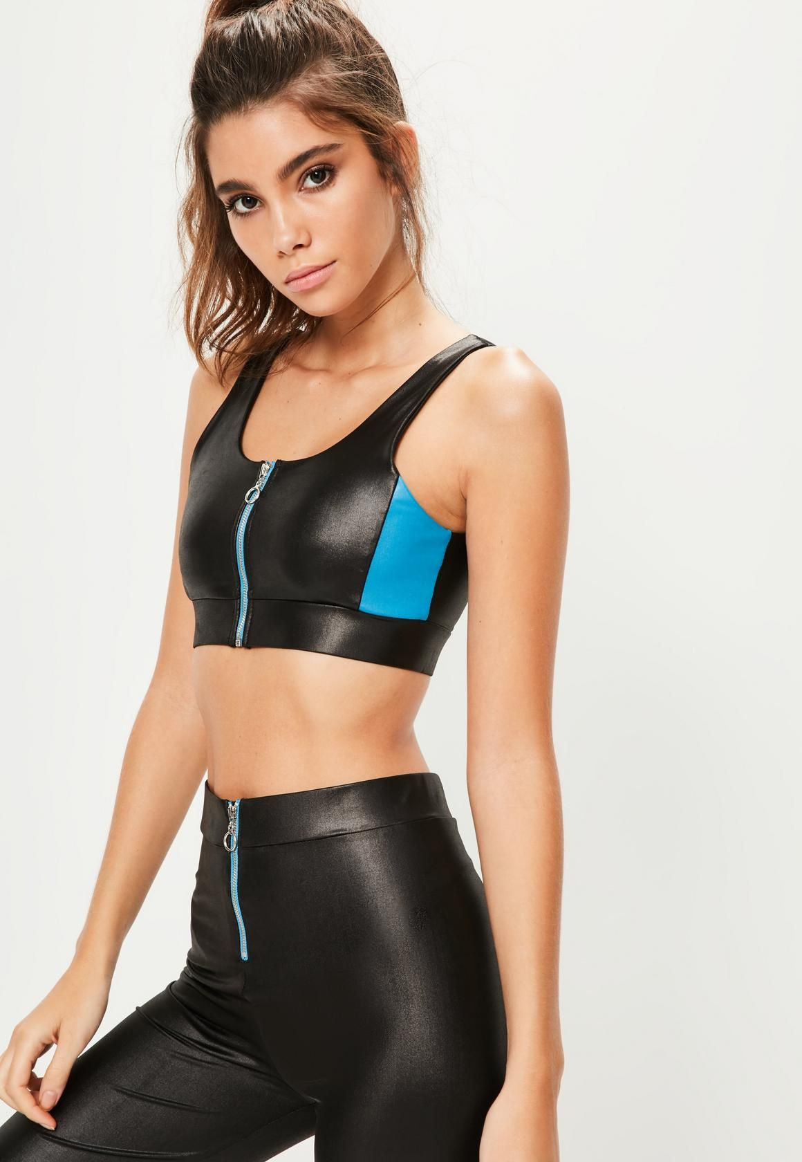 97508d4df93e5 Active Black Wet Look Sports Bra | Missguided | Missguided | Womens ...
