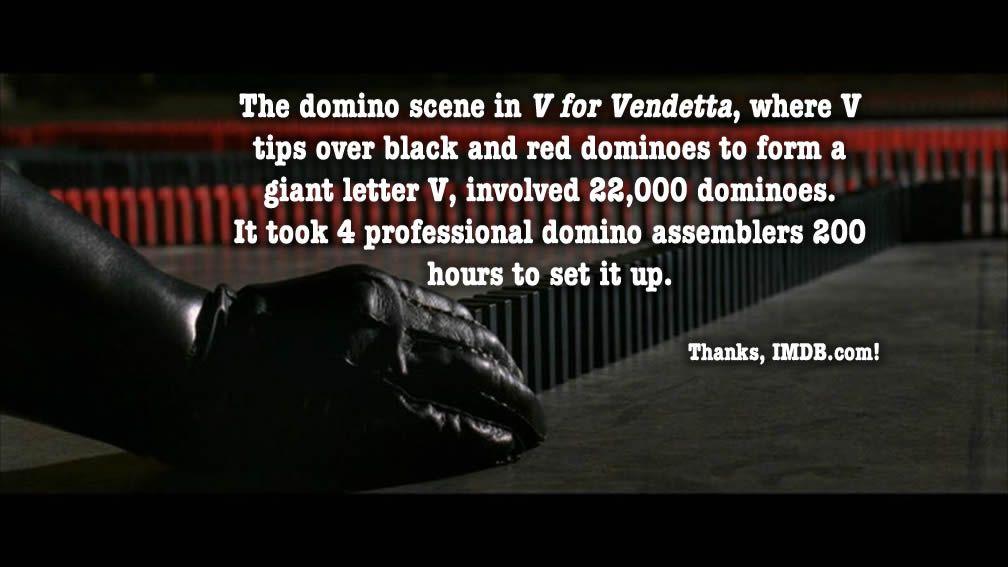 Domino effect in V For Vendetta #movie #fact   Vendetta, Fun facts ...