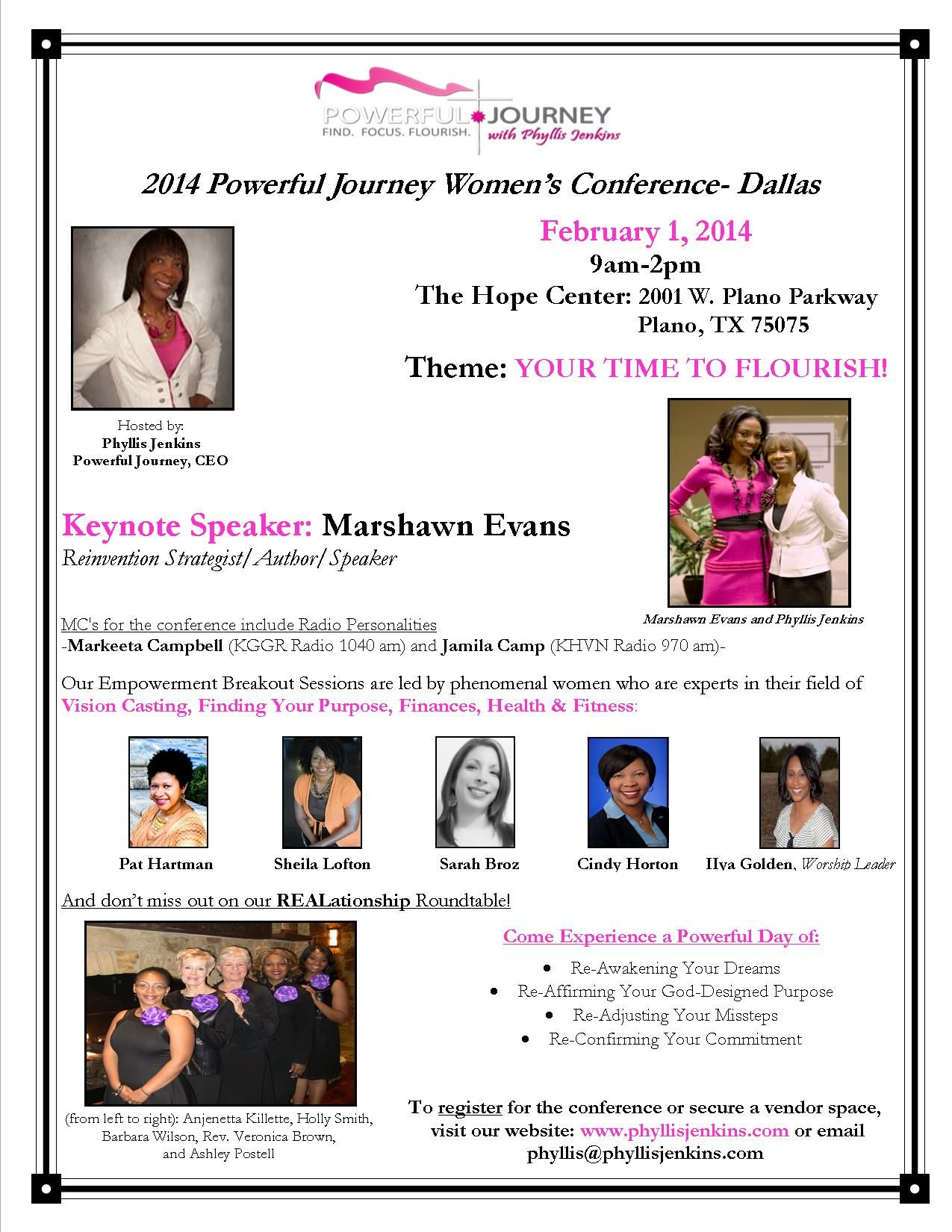 Get Fueled Up for 2014!  Register Now for the Powerful Journey Women's Conference-Keynote Speaker-Marshawn Evans Register Now! Phyllis@phyllisjenkins.com
