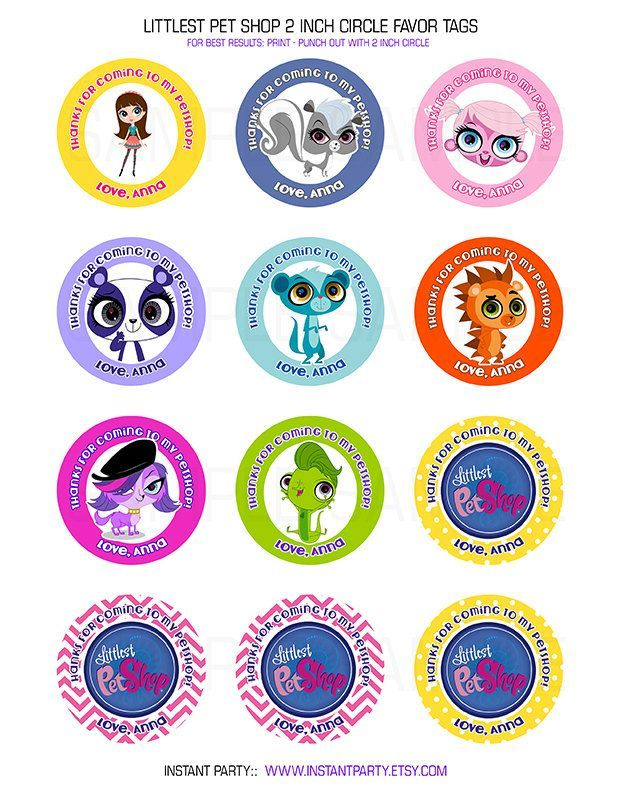 Littlest Pet Shop Favor Tags / Cupcake Toppers - Personalized with ...