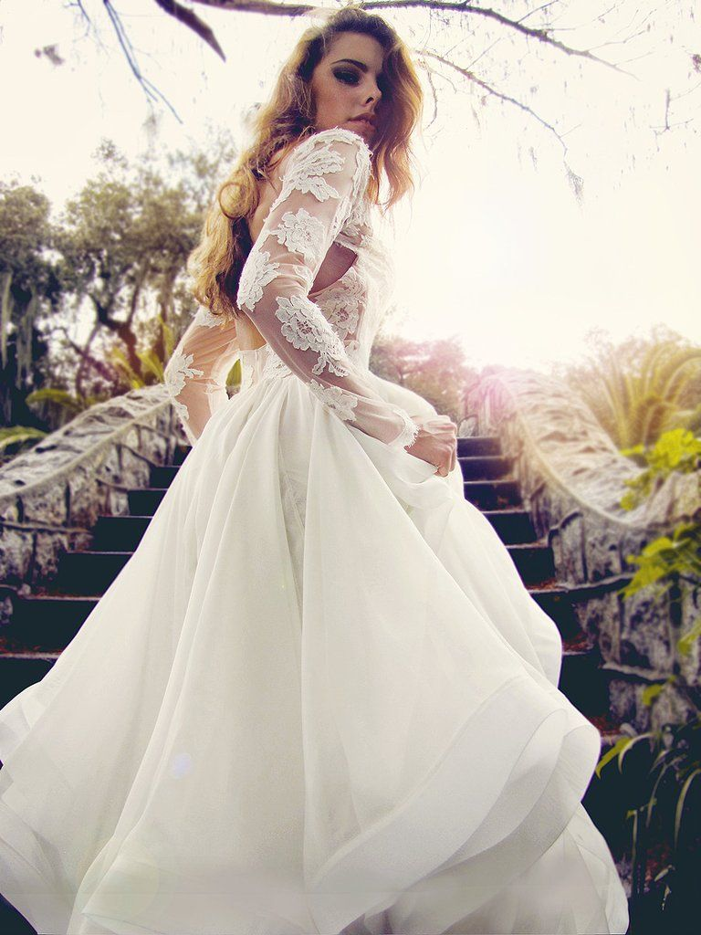 Long sleeved lace wedding dress  Elise gown by Lauren Elaine Long sleeved lace wedding gown