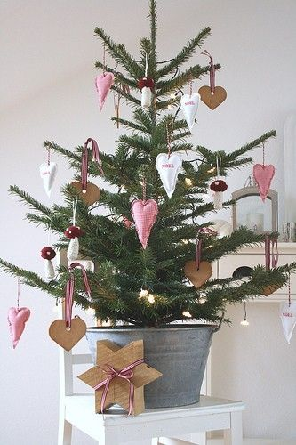 super sweet christmas tree in galvanized bucket winter. Black Bedroom Furniture Sets. Home Design Ideas
