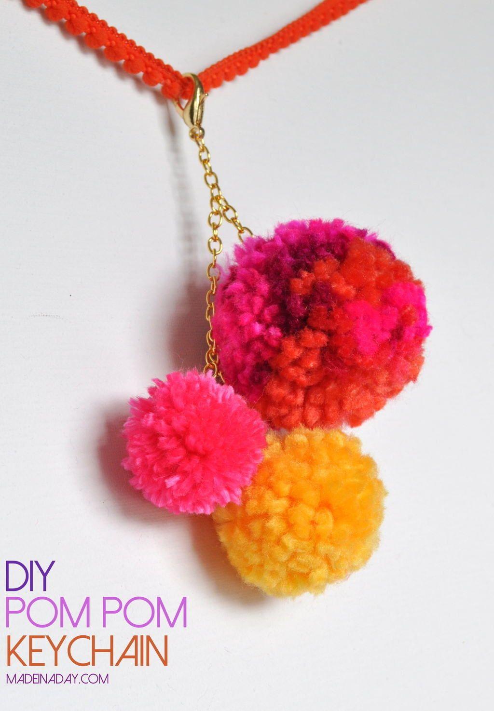 Diy Pom Pom Keychain Bag Charm Pom Pom Pinterest Tutorials