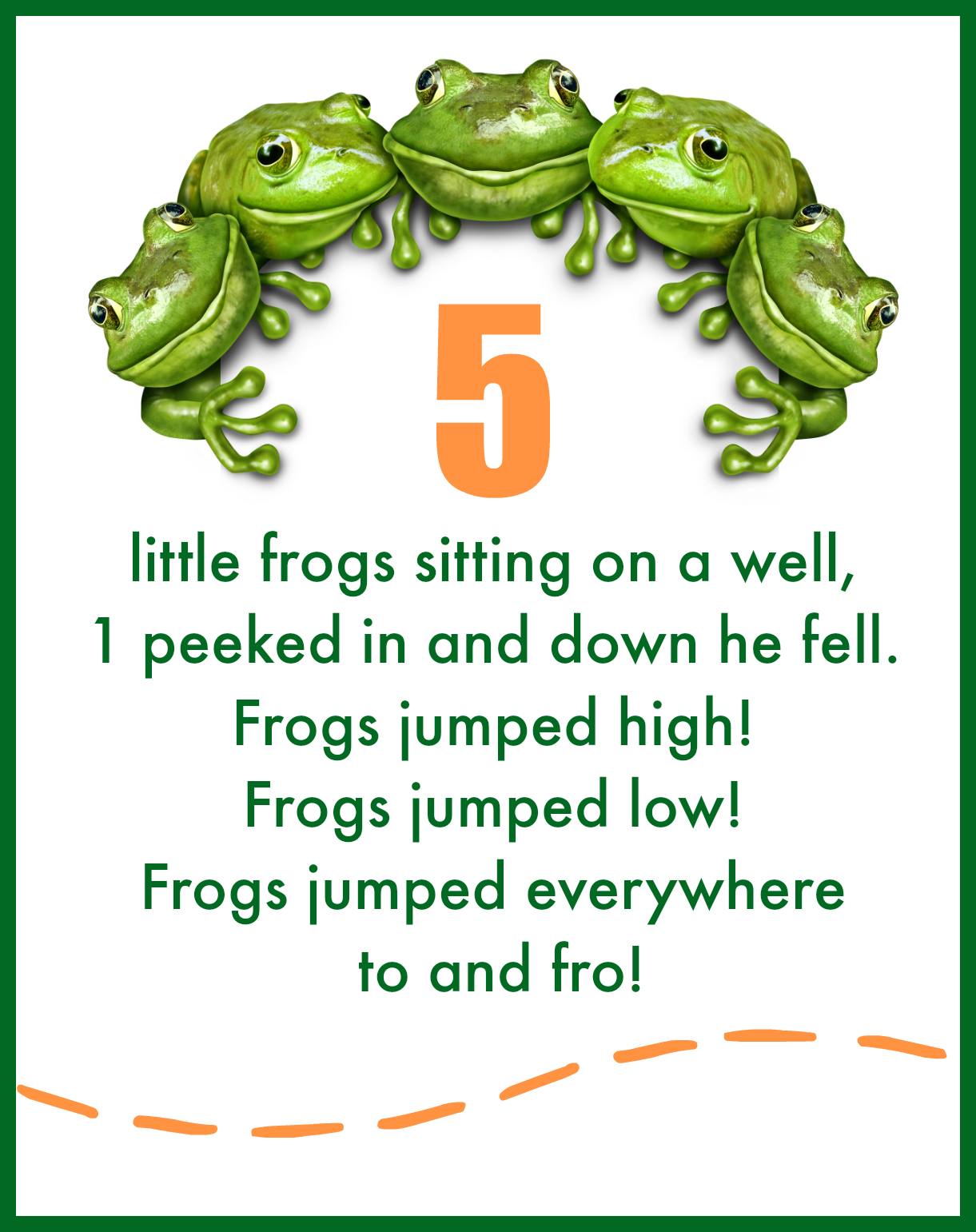 5 Little Frogs Fingerplay & Free Printable   Free printable, Frogs ...
