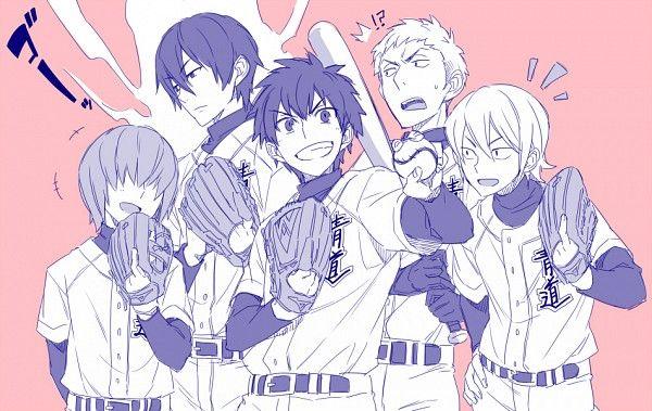 Useless Tags: Baseball Bat, Pink Background, Baseball Glove, Five Males, Baseball Uniform, Pixiv Id 7979458