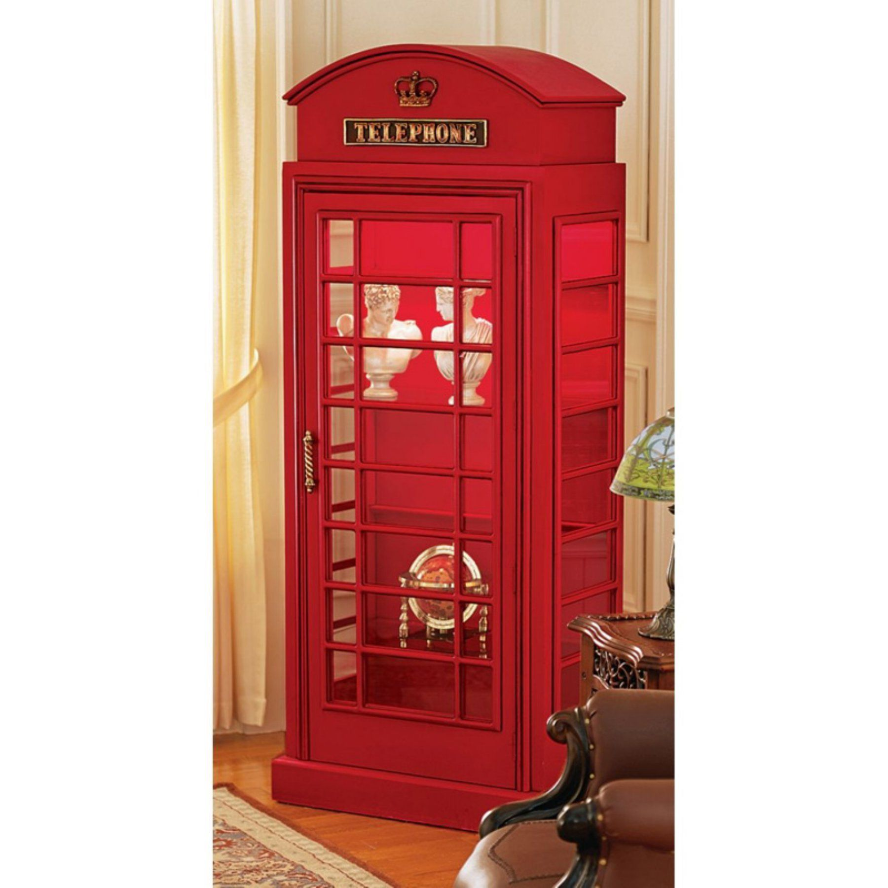 Cd Glasregale Design Toscano British Telephone Booth Display Cabinet In 2019