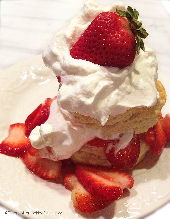 There's nothing quite like Old Fashioned Strawberry Shortcake with homemade biscuits and sweet, juicy strawberries. Perfect on the patio in summertime.