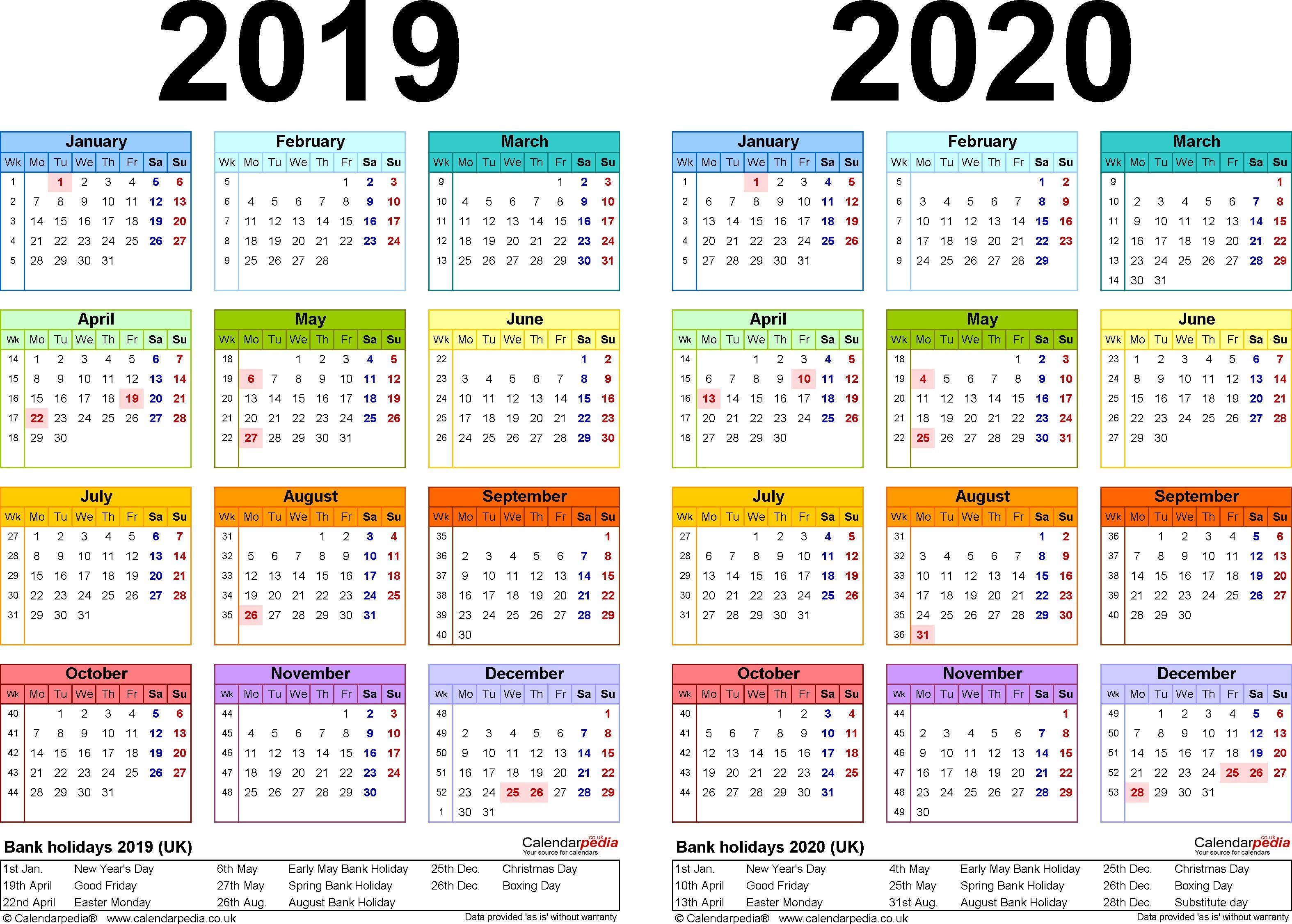 Printable Calendar 2020 Uk (With images) Calendar