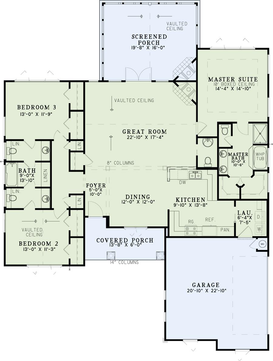 1618 Shallow Creek Drive Nelson Design Group Craftsman Style House Plans House Plans Floor Plans
