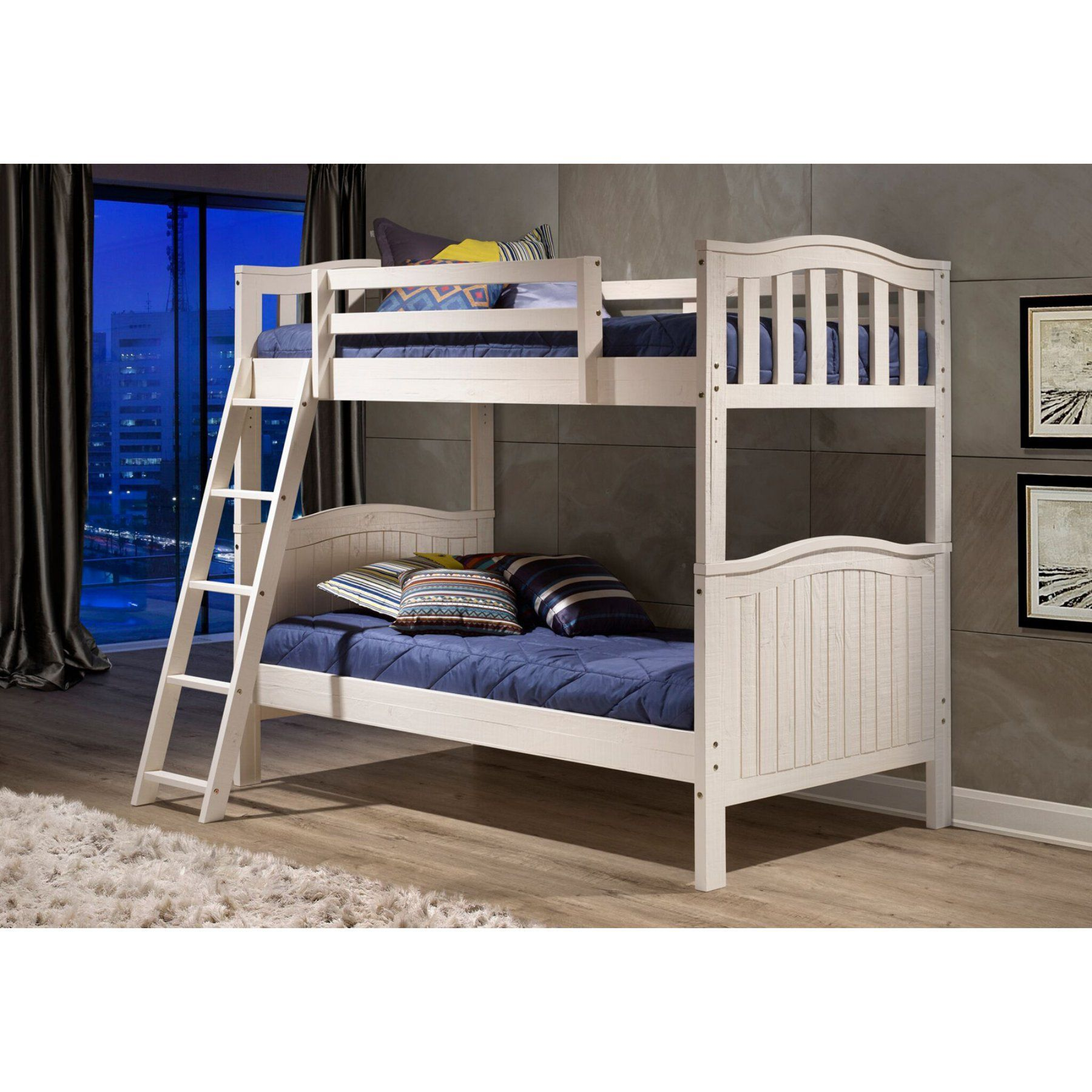 Twin loft bed ideas  Woodcrest Pine Ridge Twin over Twin Bunk Bed  Distressed White