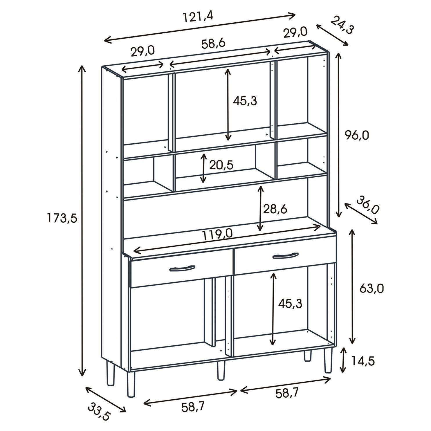 Kit mueble cocina 121x174x36 cm Blanco | medidas muebles ...