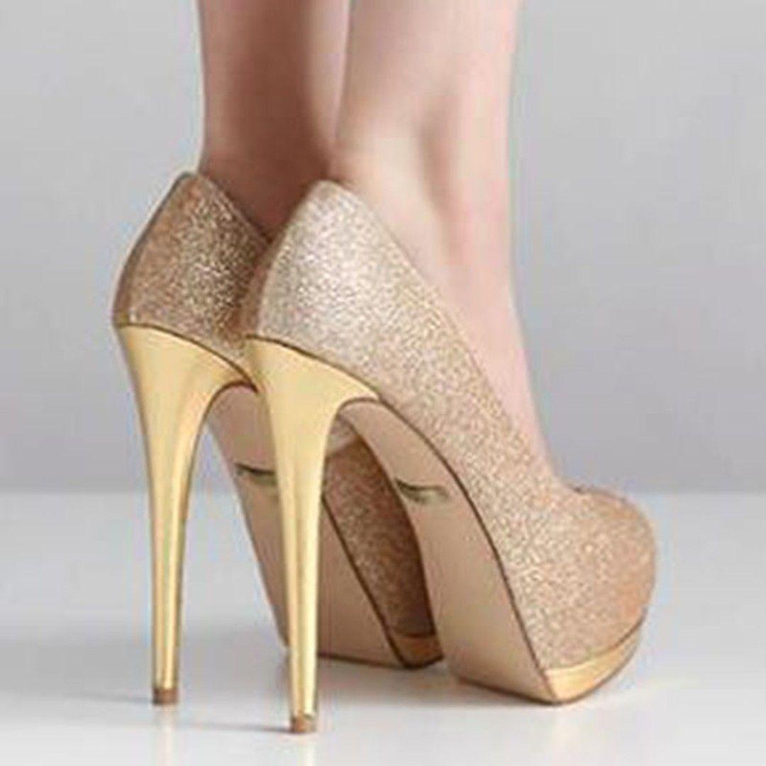 06e0f796575 Golden Glittering Peep Toe Platform Heels in 2019