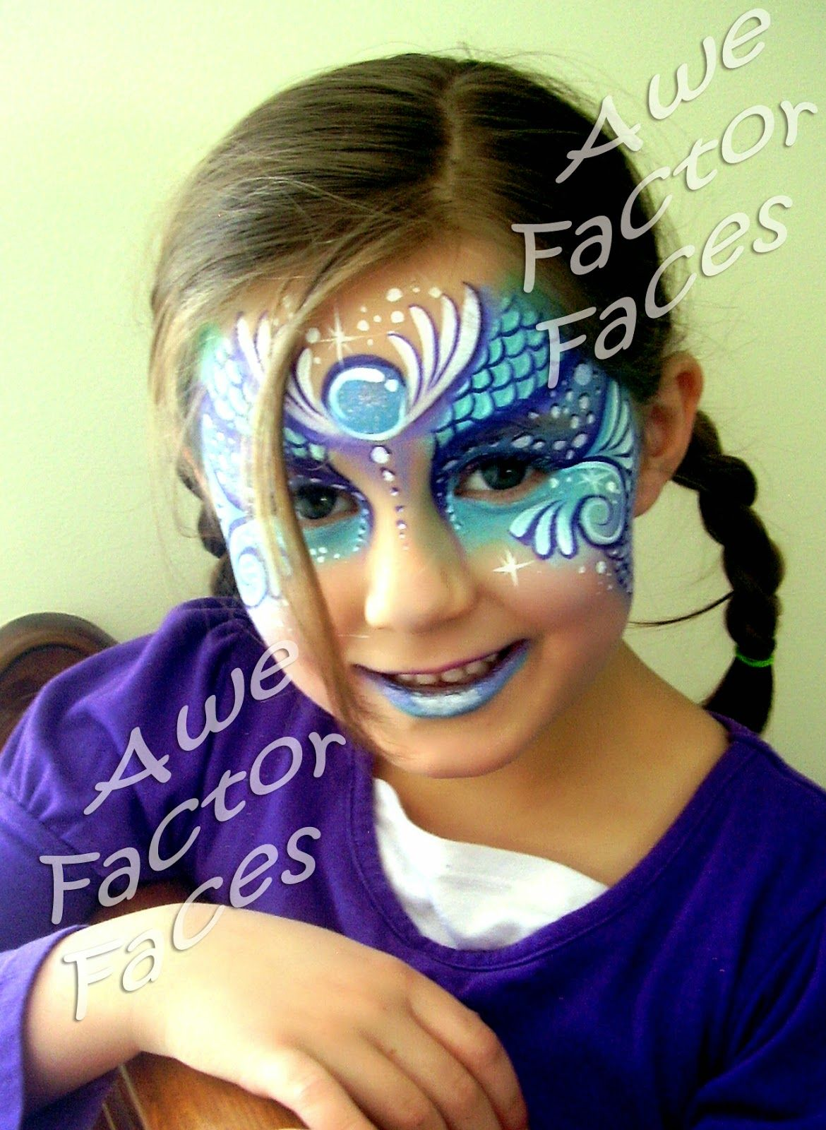 mermaid princess face paint by awe factor faces julianna 39 s 1st pinterest kinderschminken. Black Bedroom Furniture Sets. Home Design Ideas