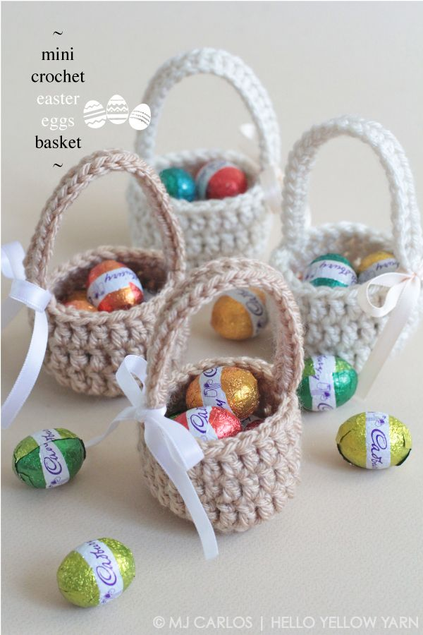 Arent these mini baskets cute heres a super fun quick and easy free pattern these adorable mini easter eggs baskets are great gifts to surprise the little ones dt1010fo