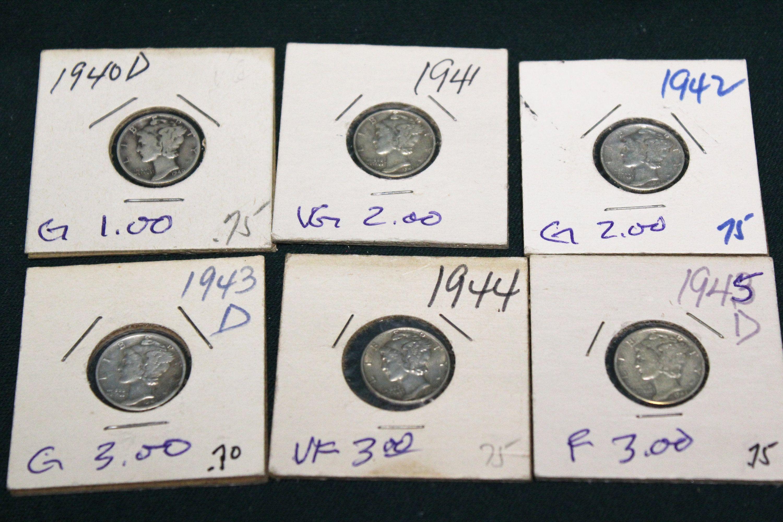 Mercury Dimes Lot of 10 1940/'s dates 90/% Silver Mercury Dimes