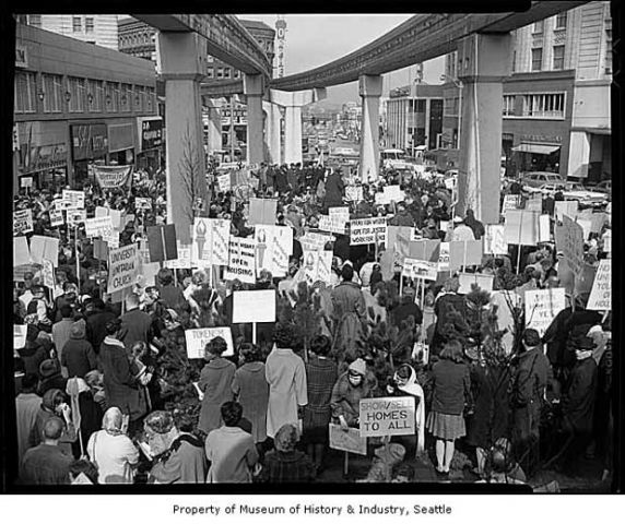 An Open Housing Demonstration At Westlake Under The Monorail In 1964 Photo Credit Seattle Post Intelligencer Collection Mus The Neighbourhood West Lake Past