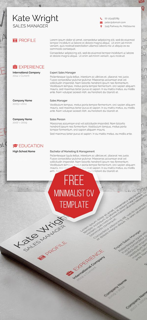 Free Minimalist Resume Template Misc Pinterest Template - graphic design invoice sample