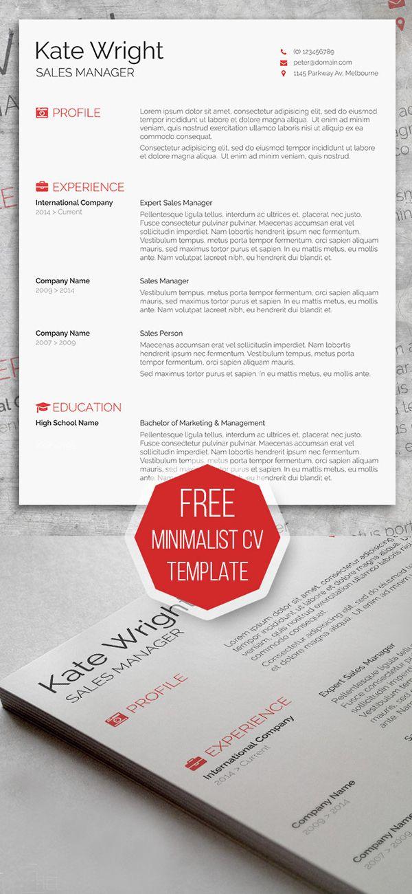 Free Resume Templates 2014 Free Minimalist Resume Template  Mockup  Pinterest  Template .