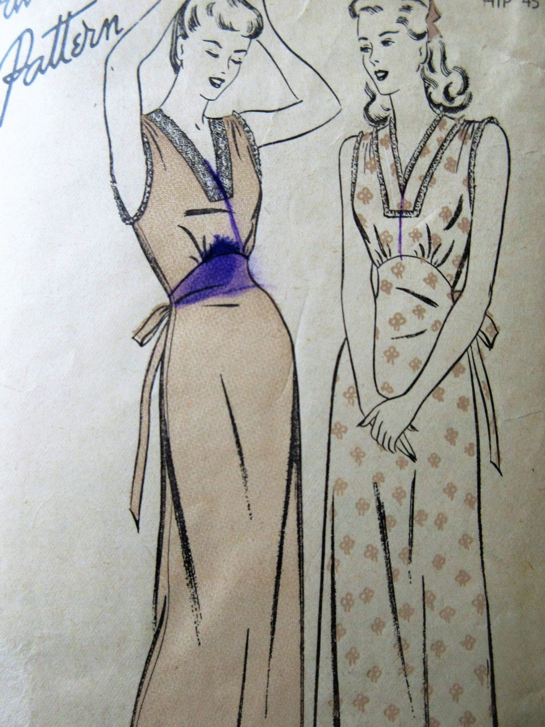 Vintage Advance 4239 Sewing Pattern, 1940s Nightgown Pattern, Bust ...