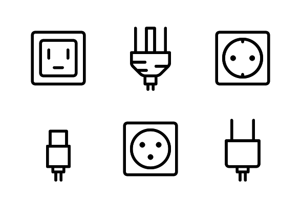 Plug Electricity Line Icons By Jordan Alfarishy Line Icon Plugs Icon