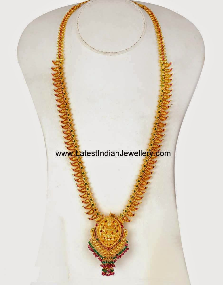 Lakshmi Pendant Long Mango Haram   Pendants, Gold and Jewel