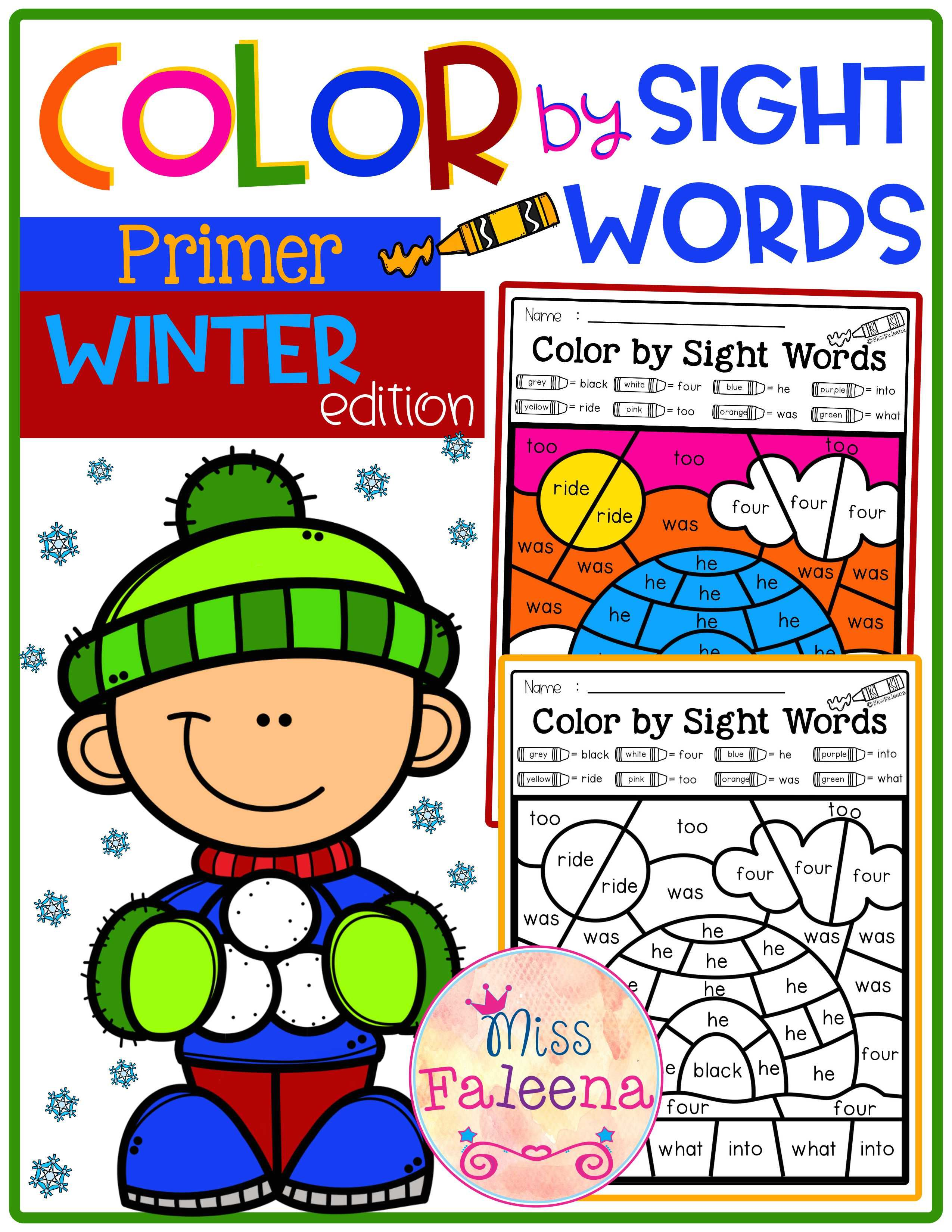 Winter Color By Code Sight Words Primer